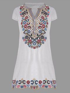 Sequin Embroidered Plus Size Tunic Top - White 4xl