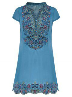 Sequin Embroidered Plus Size Tunic Top - Blue 2xl