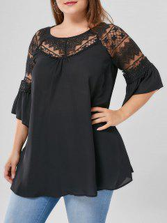 Plus Size Lace Yoke Flare Sleeve Blouse - Black 3xl