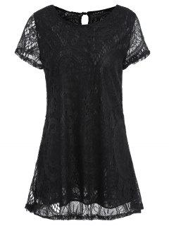 Short Sleeve Plus Size Lace Long Tee - Black 3xl