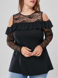 Plus Size Lace Yoke Flounced Cold Shoulder Blouse - Black 4xl