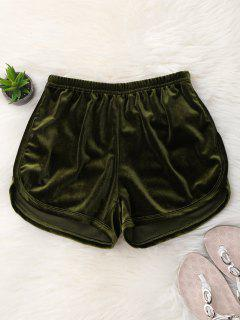 Elastic Waist Casual Velvet Shorts - Army Green M