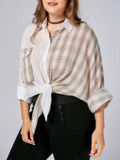Plus Size Pockets Plaid Boyfriend Shirt - Yellow 5xl