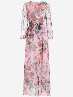Floral Print Long Sleeve Belted Maxi Dress - Pink L