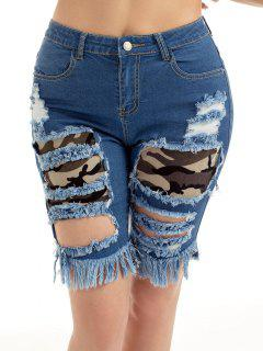 Camouflage Insert Ripped Jean Shorts - Blue Xl