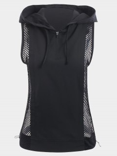 Half-zip Mesh Panel Hooded Sports Top - Black L