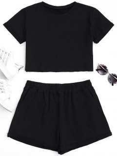 Cotton Sports Cropped Top And Shorts Suit - Black L