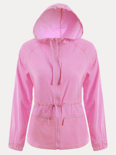 Zip Up Drawstring Hooded Sports Jacket - Pink L