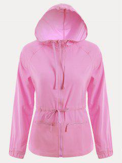 Zip Up Drawstring Hooded Sports Jacket - Pink L