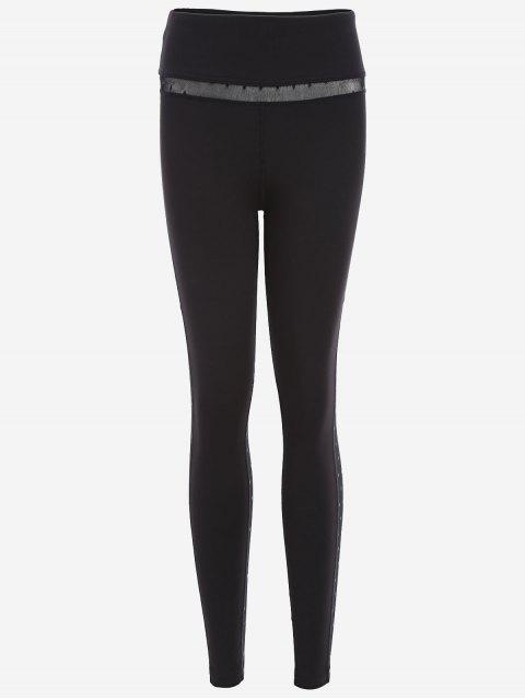 unique Mesh Insert Dotted Sporty Leggings - BLACK AND GREY XL Mobile