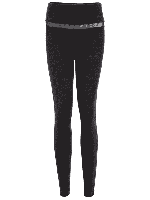 buy Mesh Insert Dotted Sporty Leggings - BLACK AND GREY S Mobile