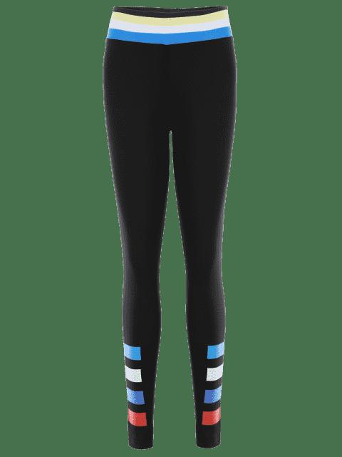 womens Slim Fit Color Block Sporty Leggings - BLACK XL Mobile