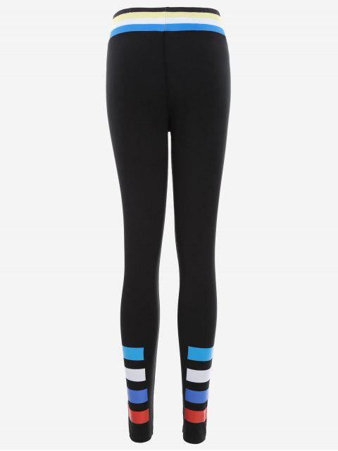 women Slim Fit Color Block Sporty Leggings - BLACK L Mobile