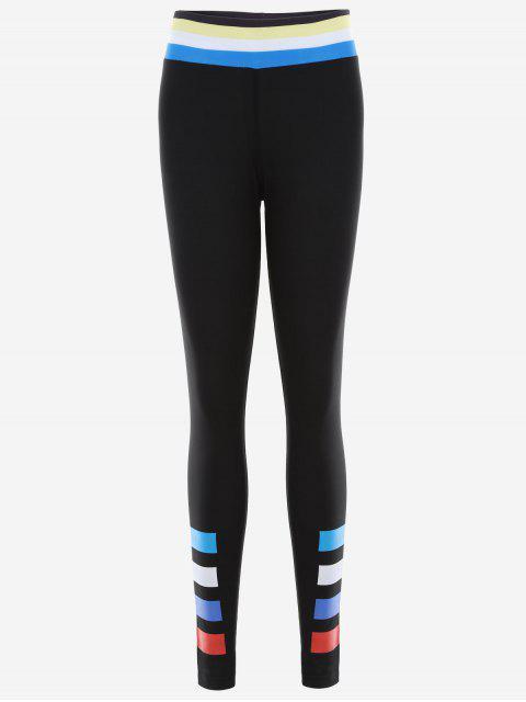 women's Slim Fit Color Block Sporty Leggings - BLACK M Mobile