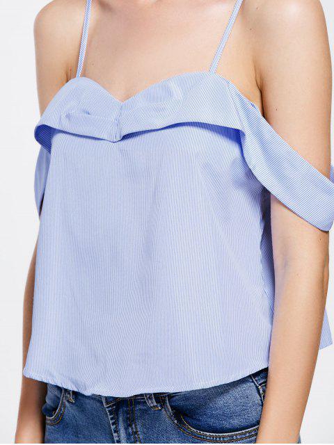 ladies Stripes Overlay Cold Shoulder Top - STRIPE S Mobile