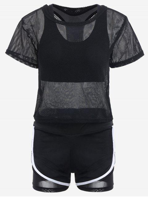 hot Mesh Three-piece Sports Suit - BLACK S Mobile