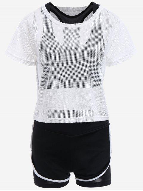 outfit Mesh Three-piece Sports Suit - WHITE L Mobile