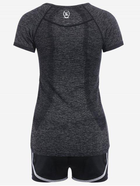 trendy Heathered Side Stripe Three Piece Sports Suit - BLACK GREY S Mobile