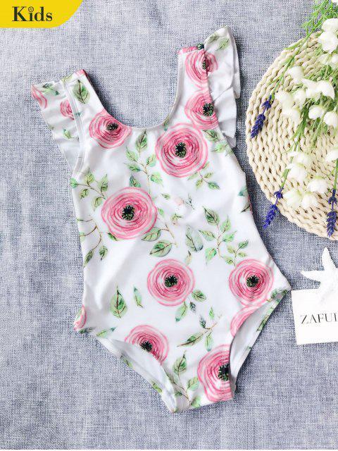 women Leaf Print Ruffles Kid Swimwear - WHITE 6T Mobile