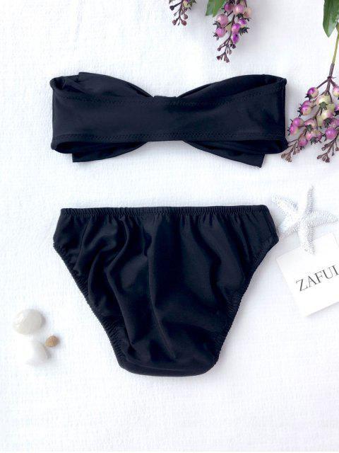 online Kids Strapless Bowknot Bikini Set - BLACK 7T Mobile