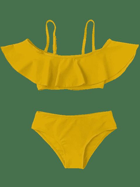 shop Layered Off The Shoulder Girls Bikini Set - GINGER 6T Mobile