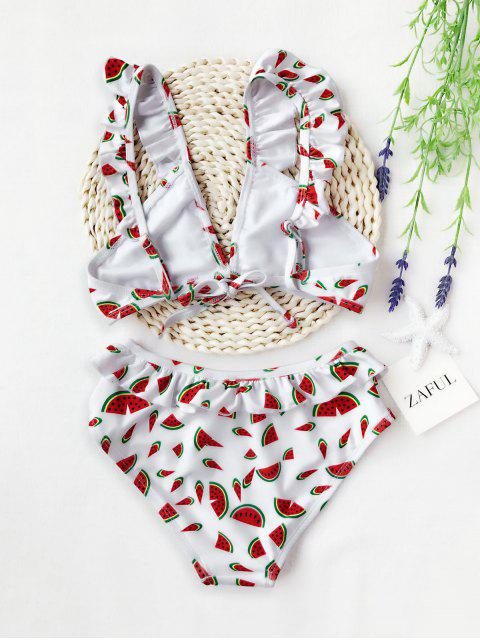 chic Watermelon Print Ruffles Kid Bikini - WHITE 6T Mobile