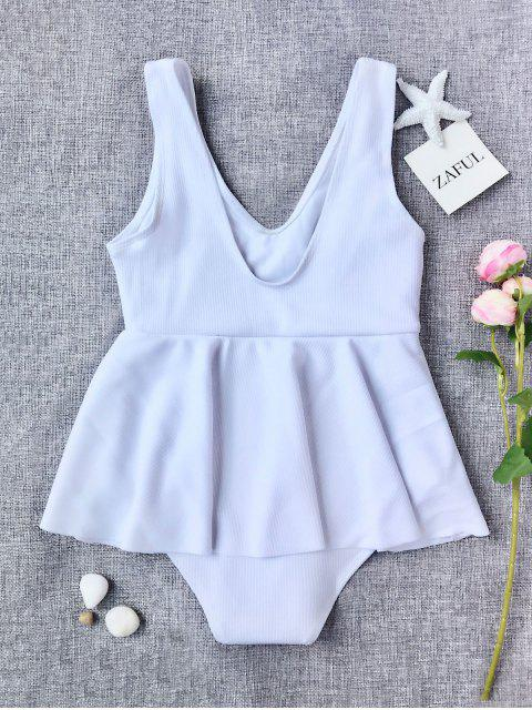 buy Ruffles Ribbed Kids One Piece Swimsuit - WHITE 7T Mobile