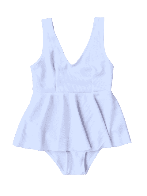 womens Ruffles Ribbed Kids One Piece Swimsuit - WHITE 8T Mobile
