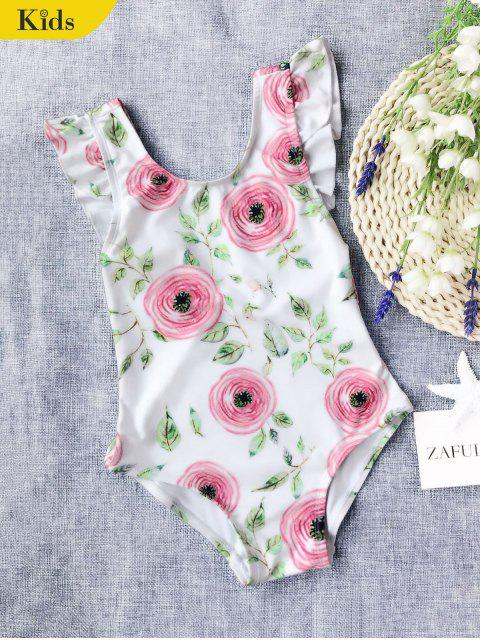 women Leaf Print Ruffles Kid Swimwear - WHITE 4T Mobile