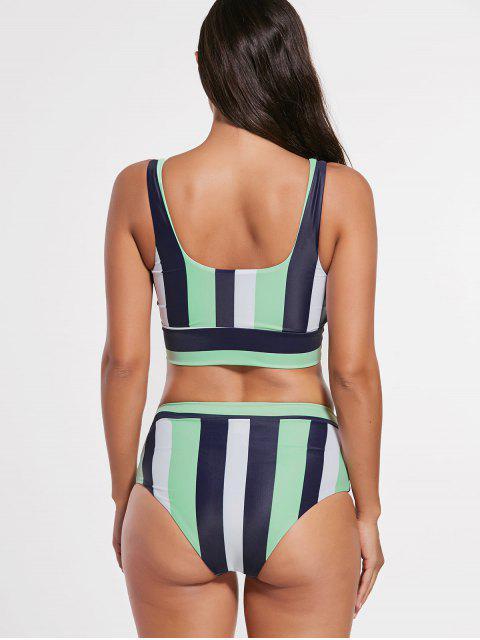 online Stripe Cropped Bikini Set - MULTI L Mobile