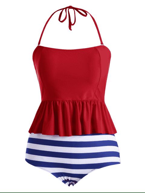 affordable Plus Size Stripe Padded Flounce Halter Bandeau Swimsuit - BLUE 3XL Mobile