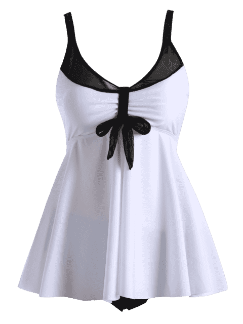 women Plus Size Padded Dressy Blouson Tankini - WHITE 2XL Mobile