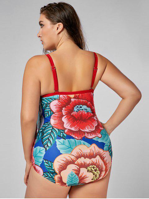 Floral Plus Size rembourré Flounce Thong One Piece Swimsuit - Floral XL Mobile
