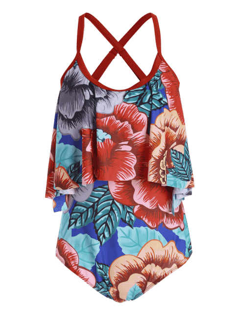 shop Floral Plus Size Padded Flounce Thong One Piece Swimsuit - FLORAL XL Mobile