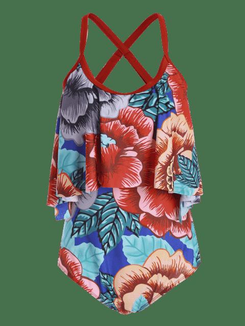 Floral Plus Size rembourré Flounce Thong One Piece Swimsuit - Floral 3XL Mobile