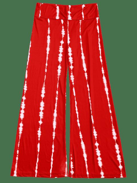 hot Striped Wide Leg Palazzo Pants - WATERMELON RED L Mobile