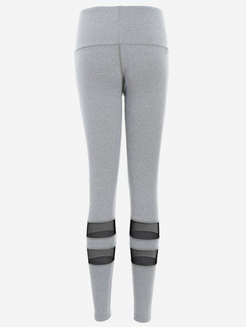 fancy Mesh Active Yoga Leggings - GRAY L Mobile