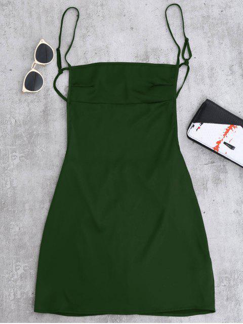 womens Backless Mini Slip Dress - BLACKISH GREEN S Mobile