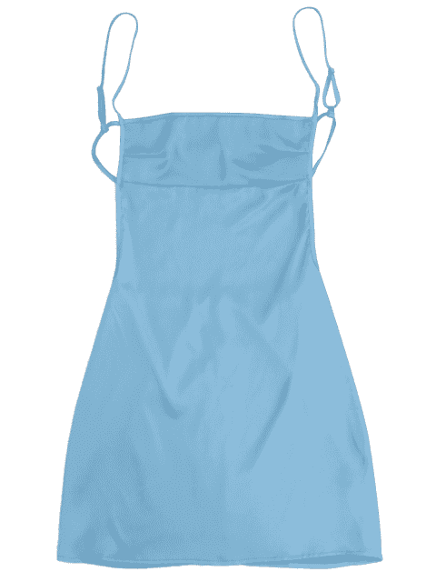 women Backless Mini Slip Dress - LAKE BLUE M Mobile