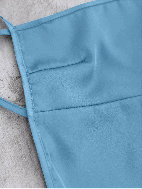 women's Backless Mini Slip Dress - LAKE BLUE S Mobile