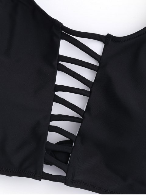 new Ladder Cut Out Strappy Bikini - BLACK L Mobile