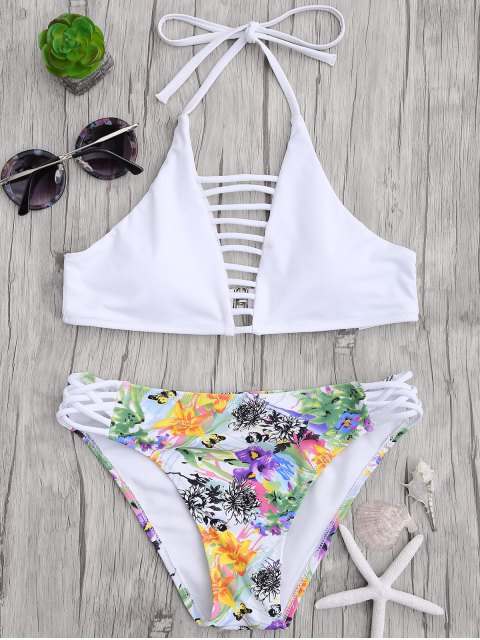 unique Cut Out Strappy Top with Floral Bikini Bottoms - WHITE M Mobile