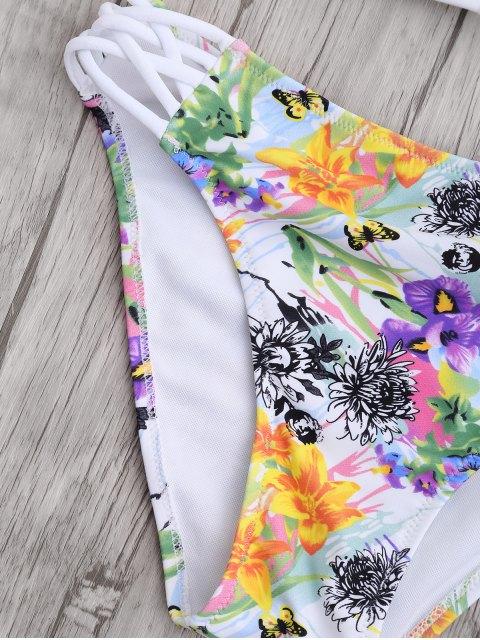 unique Cut Out Strappy Top with Floral Bikini Bottoms - WHITE M Mobile