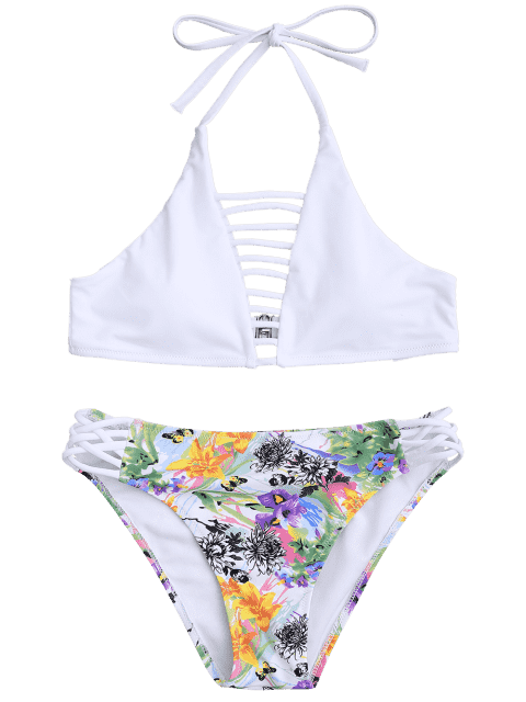 sale Cut Out Strappy Top with Floral Bikini Bottoms - WHITE S Mobile