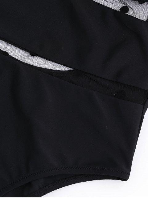 ladies Mesh Push Up Dotted High Cut Swimwear - BLACK S Mobile