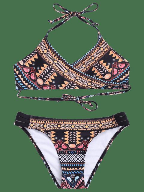 shop Banded Patterned Wrap Bathing Suit - COLORMIX M Mobile