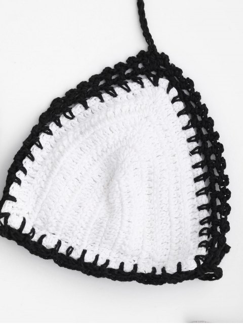 trendy Two Tone Bralette Crochet String Bikini - WHITE AND BLACK M Mobile
