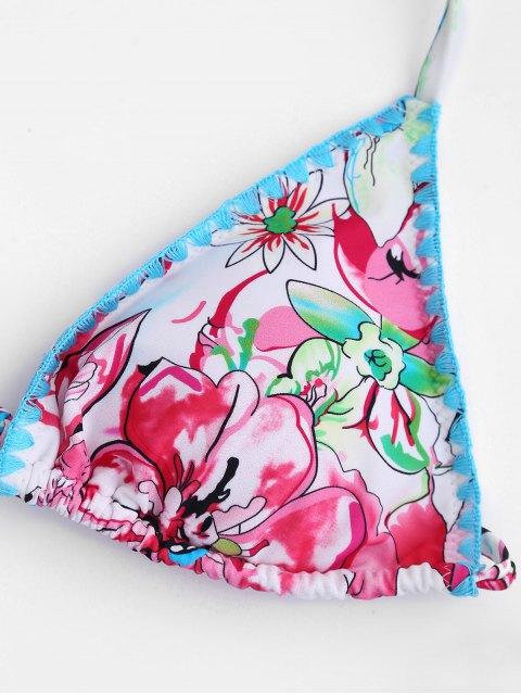 fancy Floral High Cut String Bikini - FLORAL M Mobile