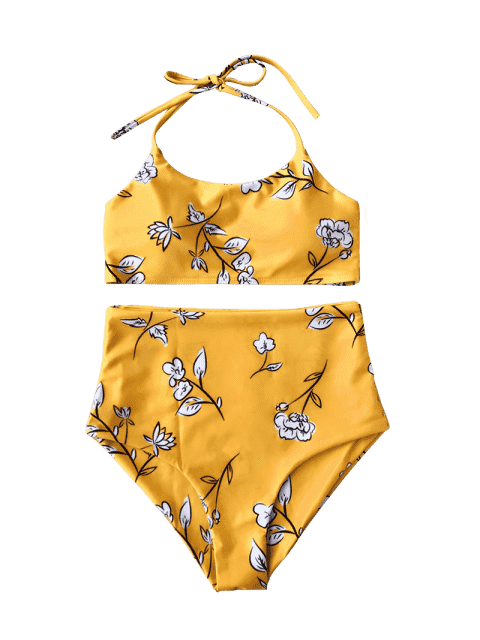 unique Floral Halter High Waisted Kids Bikini Set - YELLOW 5T Mobile