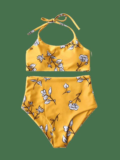 Ensemble de bikini pour enfants à bas prix floral Halter - Jaune 8T Mobile